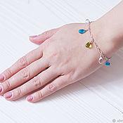 Украшения handmade. Livemaster - original item Light chain bracelet on hand with drops of Czech glass. Handmade.