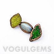 Украшения handmade. Livemaster - original item brooches: Copper brooch (vesuvian, uvarovite, agate). Handmade.