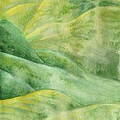 Картины и панно ручной работы. Ярмарка Мастеров - ручная работа Картина зеленые холмы. Акварель.. Handmade.