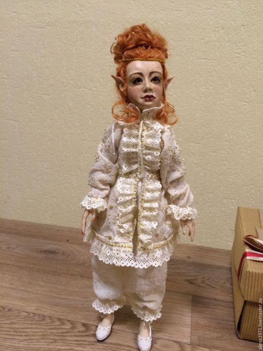"""Коллекционные куклы ручной работы. Ярмарка Мастеров - ручная работа. Купить Будуарная кукла """"Солнечный эльф"""". Handmade. Белый, трессы"""