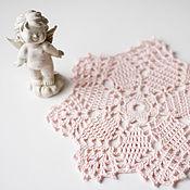 Для дома и интерьера ручной работы. Ярмарка Мастеров - ручная работа салфетка вязаная розовая №1. Handmade.