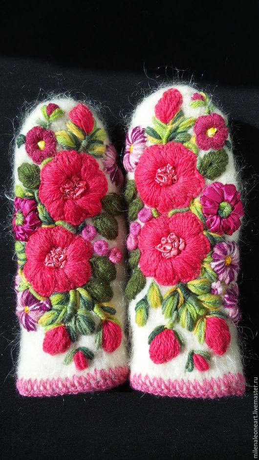 Варежки, митенки, перчатки ручной работы. Ярмарка Мастеров - ручная работа. Купить Варежки с объемной вышивкой Цветочная Рапсодия. Handmade.