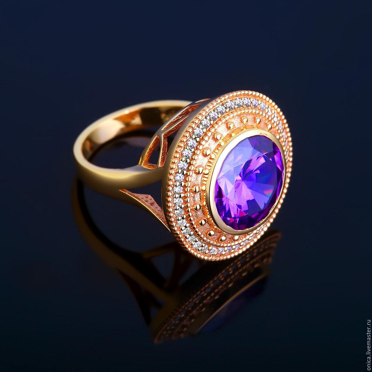 Эксклюзивное кольцо с бриллиантами и аметистом