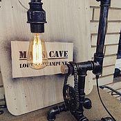 Для дома и интерьера ручной работы. Ярмарка Мастеров - ручная работа Светильник Loft/стимпанк из водопроводных труб с часами из шестерен. Handmade.