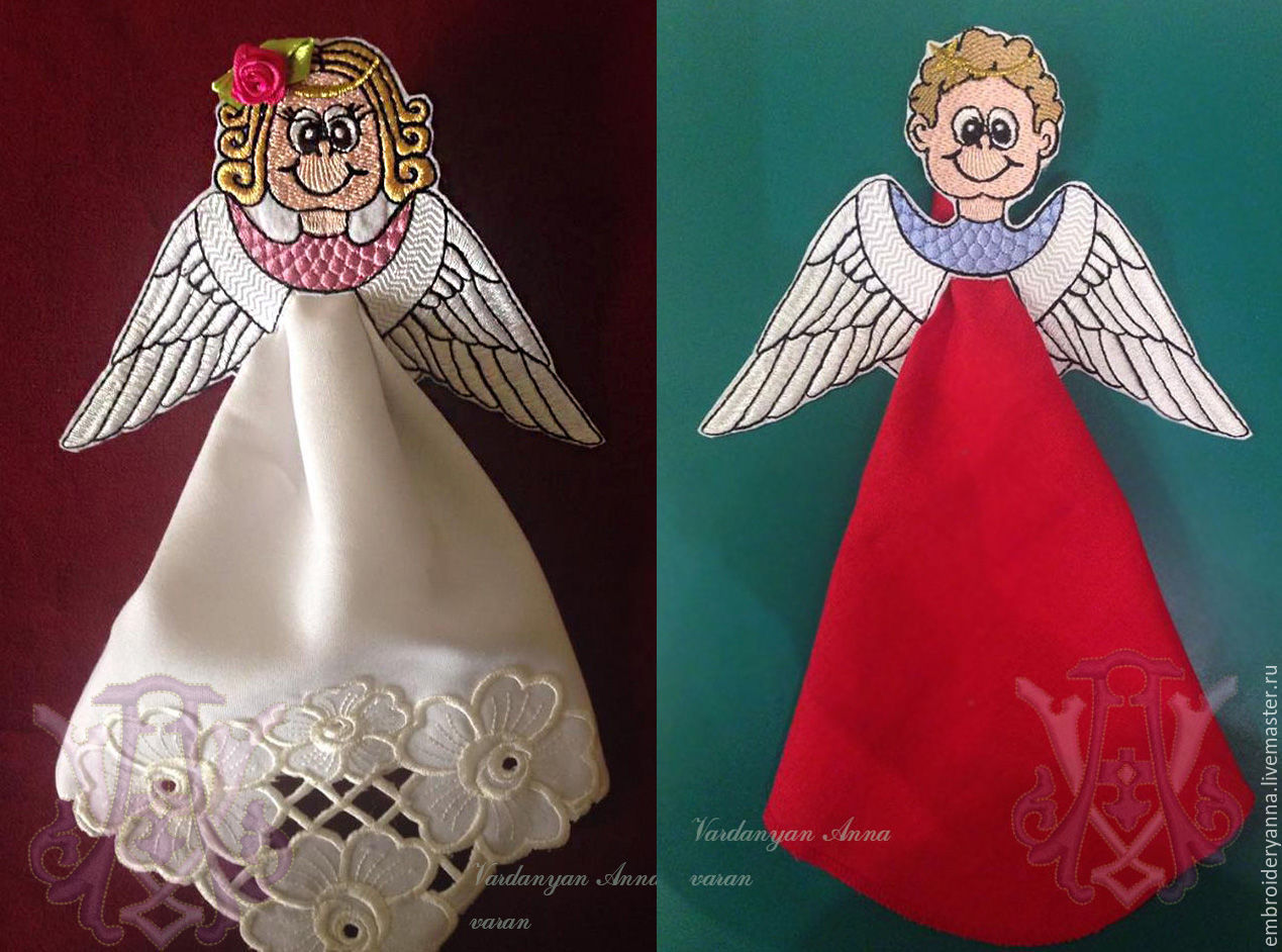 Design in machine embroidery. Angels for the design of napkins, Embroidery kits, Yerevan,  Фото №1