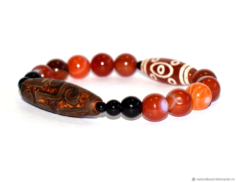 Carnelian and agate bracelet with DZI nine eyes beads, Bead bracelet, Moscow,  Фото №1