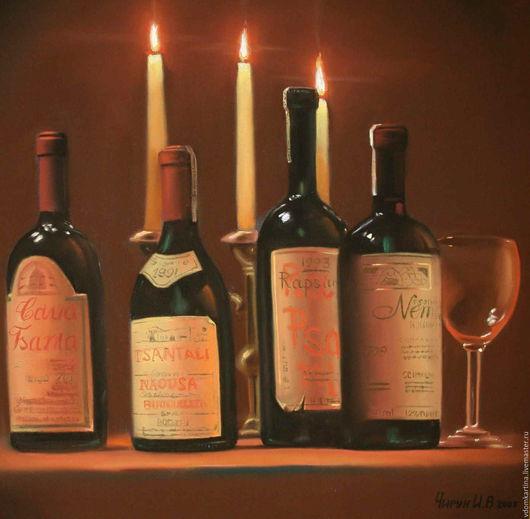 """Натюрморт ручной работы. Ярмарка Мастеров - ручная работа. Купить """"Истина в вине"""". Handmade. Коричневый, вино, графика, картина в интерьер"""