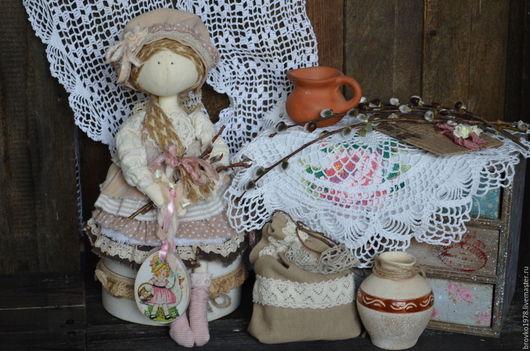 Куклы тыквоголовки ручной работы. Ярмарка Мастеров - ручная работа. Купить Ванилька-пасхальная бохо- фейка. Handmade. Бежевый