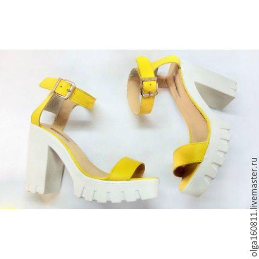 """Обувь ручной работы. Ярмарка Мастеров - ручная работа. Купить Босоножки """"лимон"""". Handmade. Желтый, летняя обувь, босоножки женские"""