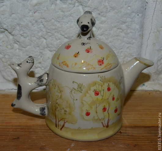 Кухня ручной работы. Ярмарка Мастеров - ручная работа. Купить чайничек заврочный собачка с птичкой. Handmade. Золотой, чайник