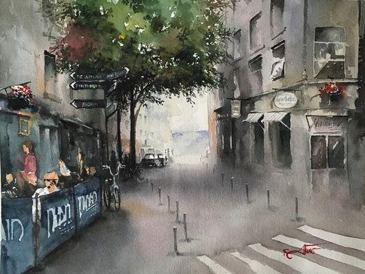 Город ручной работы. Ярмарка Мастеров - ручная работа. Купить Улочки Голуэя. Handmade. Разноцветный, подарок, улица, watercolor