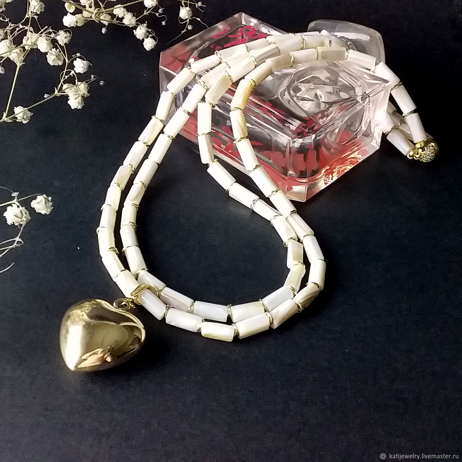 Necklace with mother of pearl 'Snow Heart'(removable pendant), Necklace, Rostov-on-Don,  Фото №1