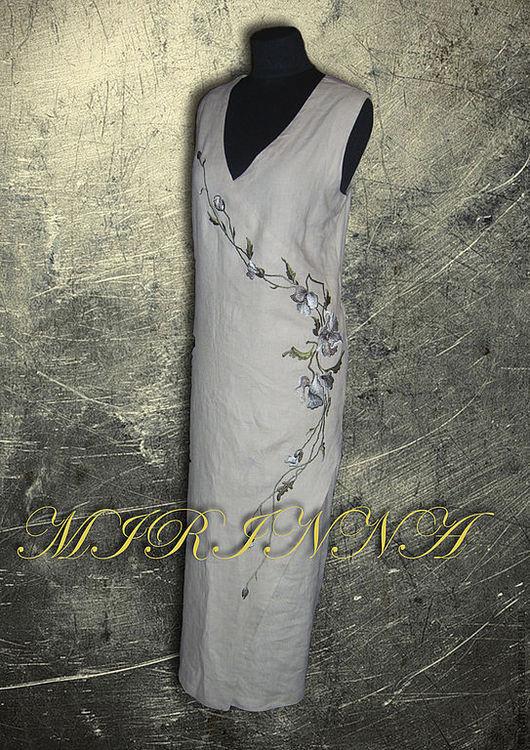 """Платья ручной работы. Ярмарка Мастеров - ручная работа. Купить платье льняное """"МАКОВАЯ ВЕТОЧКА"""". Handmade. Платье, работа, цветочный"""