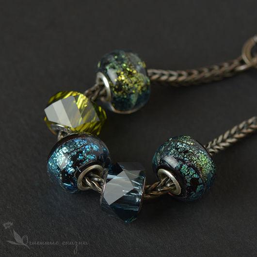 Бусины из стекла с серебром для браслета. Подходят для браслетов и основ Biagi, Chamilia, Troll. Золотистый, зеленый, искры, дихро, блеск, шармы, подарок девушке, женщине, подруге, сестре, на др нг