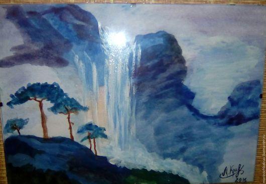 Пейзаж ручной работы. Ярмарка Мастеров - ручная работа. Купить райский водопад и цветочный берег. Handmade. Голубой, водопад, море