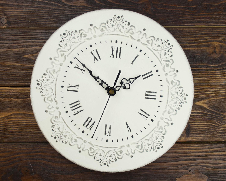 Белые настенные часы «Барокко» с узором, Часы, Москва, Фото №1