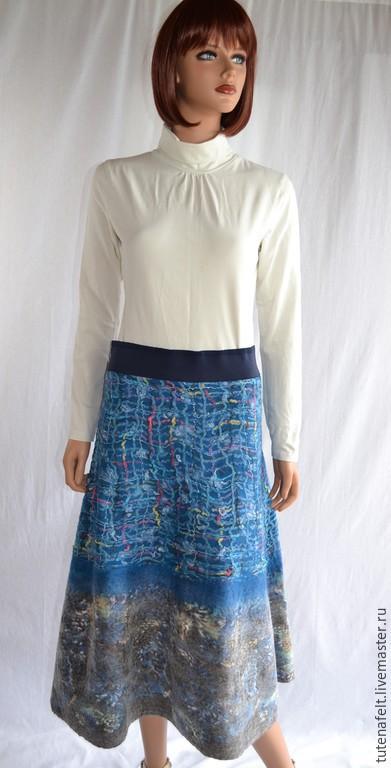 """Юбки ручной работы. Ярмарка Мастеров - ручная работа. Купить Валяная теплая  расклешенная  юбка """"bleu """". Handmade. Синий"""