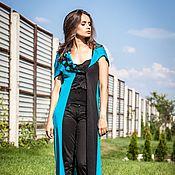 Одежда handmade. Livemaster - original item КМГ_011 Vest long asymmetrical, color turquoise with black.. Handmade.