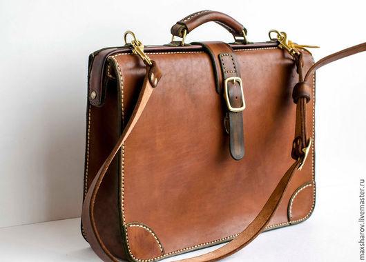 """Мужские сумки ручной работы. Ярмарка Мастеров - ручная работа. Купить Кожаная сумка ручной работы, портфель-саквояж art S3 """"Titan"""". Handmade."""