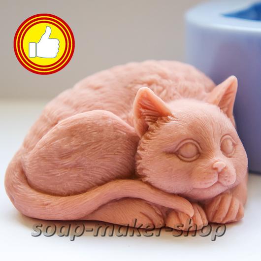 Материалы для косметики ручной работы. Ярмарка Мастеров - ручная работа. Купить Силиконовая форма для мыла «Кот 2 3D». Handmade.