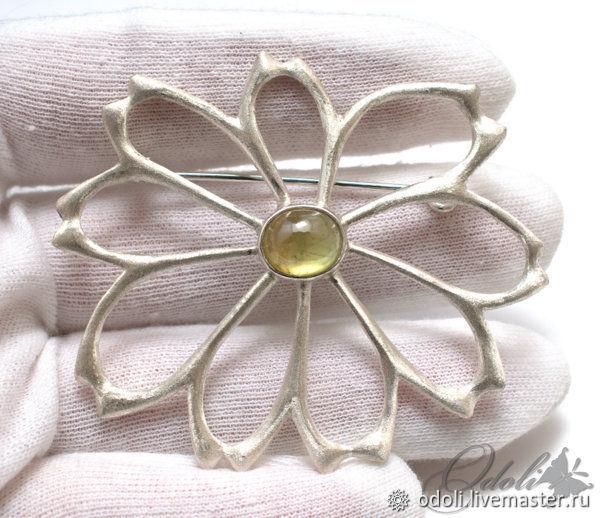 Silver 925 brooch with beautiful Daisy, Brooches, Krasnoyarsk,  Фото №1