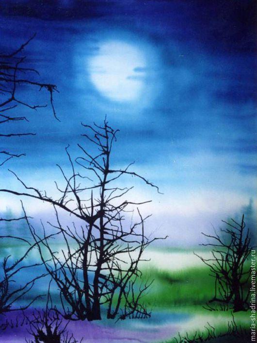 Пейзаж ручной работы. Ярмарка Мастеров - ручная работа. Купить Лунная ночь. Handmade. Шелк 100%, красивый подарок, синий