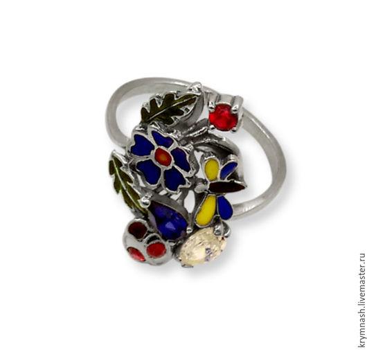 """Кольца ручной работы. Ярмарка Мастеров - ручная работа. Купить Кольцо """"Лето"""" с эмалью и камнями из серебра. Handmade. Цветное, кольцо"""