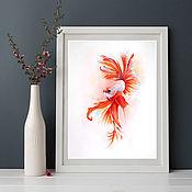Картины ручной работы. Ярмарка Мастеров - ручная работа Картина с рыбой акварель купить, картина с рыбой, карпы кои. Handmade.