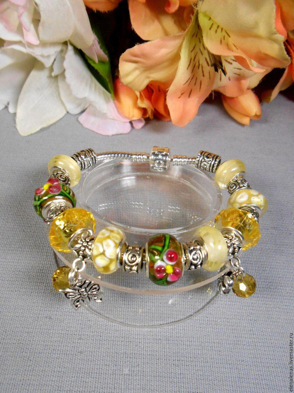 """""""Цветочный мёд""""-браслет с шармами"""