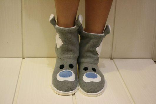 Обувь ручной работы. Ярмарка Мастеров - ручная работа. Купить Тапочки- Чуники. Мишка Тедди. Handmade. Серый