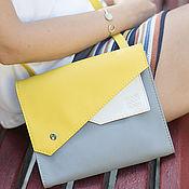 "Crossbody bag handmade. Livemaster - original item Сумка через плечо ""Frida"", серая сумка, желтая сумочка. Handmade."