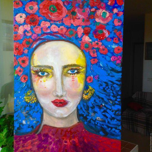 `Цветущая Украина` первая и самая большая картина из серии `Женщины Мира` Портрет написан в полу романтическом стиле. Цветы написаны крупными объемными мазками.