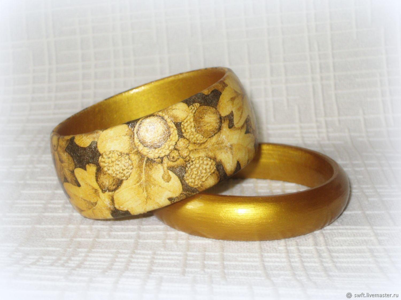 Bracelets gold Oak leaves. Acorns tree decoupage gold leaf \u2013 купить на  Ярмарке Мастеров \u2013 EPFJ7COM