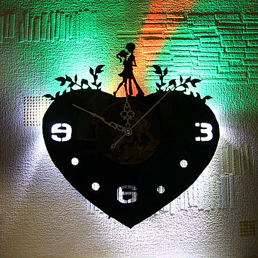 For home and interior handmade. Livemaster - original item Wall clock with LED light from the album DIL tera aashiq. Handmade.