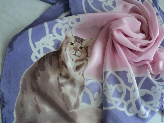 Шелковый платок `Красавец`,автор Агафонова Татьяна