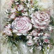 Картины и панно handmade. Livemaster - original item Beautiful flowers in oil, interior painting, oil abstraction. Handmade.