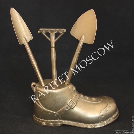 Винтажные предметы интерьера. Ярмарка Мастеров - ручная работа. Купить Садовый набор ботинок лопата грабли латунь Герм 3. Handmade.