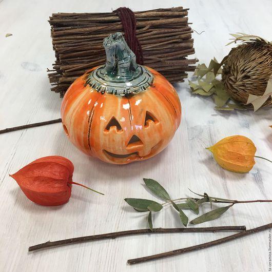 Подсвечники ручной работы. Ярмарка Мастеров - ручная работа. Купить Тыква Halloween. Handmade. Подсвечник, новинка, хелоуин, подарок, такерамика