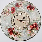 Для дома и интерьера ручной работы. Ярмарка Мастеров - ручная работа Часы бол.Винтажные розы. Handmade.