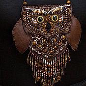 Украшения handmade. Livemaster - original item Owl beaded pendant-handbag. Handmade.