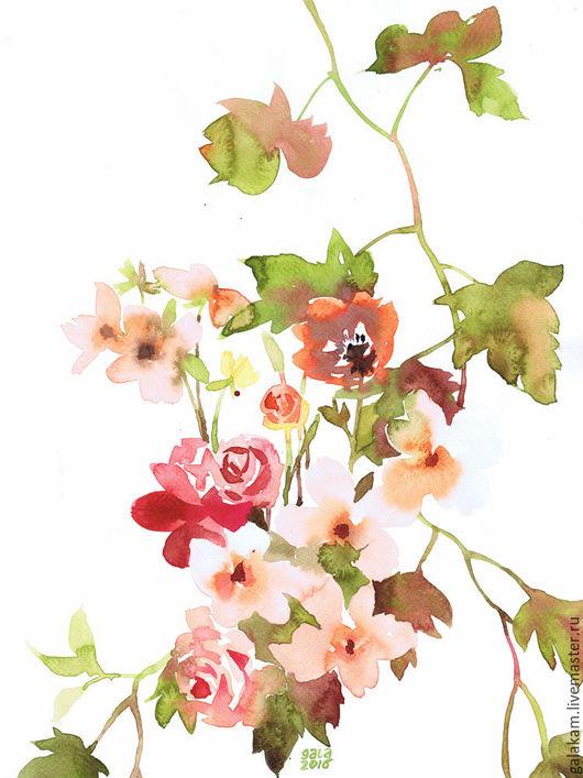 """Картины цветов ручной работы. Ярмарка Мастеров - ручная работа. Купить """"Виноград и роза"""".. Handmade. Цветы, цветок, цветочная композиция"""