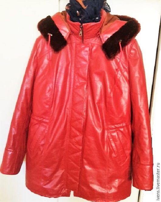 Верхняя одежда ручной работы. Ярмарка Мастеров - ручная работа. Купить Зимняя кожаная куртка. Handmade. Ярко-красный