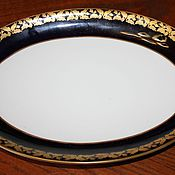 Винтаж handmade. Livemaster - original item Large oval dish, cobalt with gold rim, Weimar, Germany. Handmade.