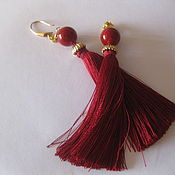 Украшения handmade. Livemaster - original item Earrings tassels dark red color 24K gold Plated Pearl Swarovski. Handmade.