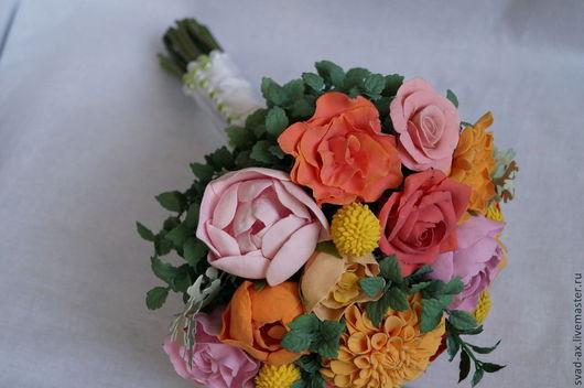 Свадебные цветы ручной работы. Ярмарка Мастеров - ручная работа. Купить Свадебный букет из полимерной глины. Handmade. Разноцветный