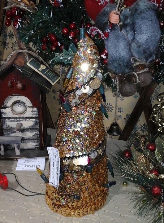 Новый год 2017 ручной работы. Ярмарка Мастеров - ручная работа. Купить денежная елочка. Handmade. Золотой, новогодний подарок, лампочки