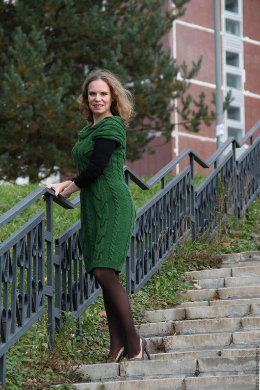 Платья ручной работы. Ярмарка Мастеров - ручная работа. Купить теплое платье. Handmade. Тёмно-зелёный, платье теплое