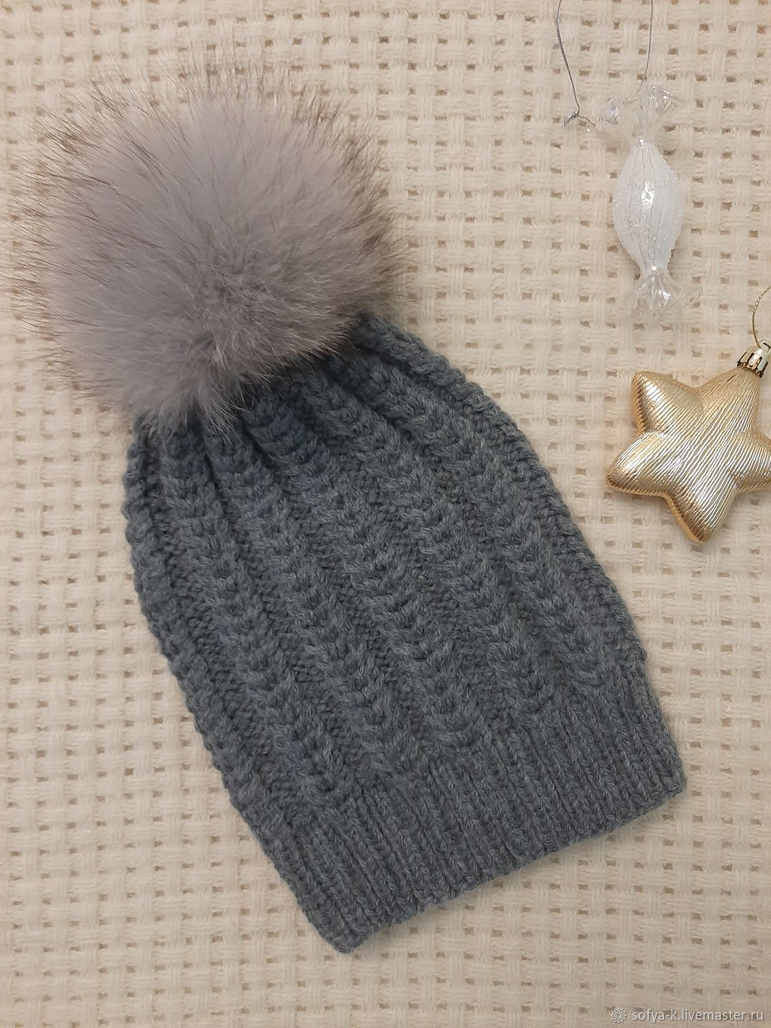 Hat with cashmere and pompom ' Spikelet', Caps, Moscow,  Фото №1