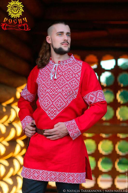 Рубаха славянская льняная обережная `Князь`. 100% лён. Вышивка крестом.