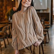 Одежда handmade. Livemaster - original item Jerseys: Women`s knitted sweater with V-neck braids in beige color. Handmade.